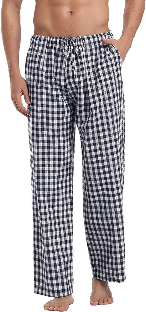 Aibrou Pantalones de Pijama Hombre de Cuadros de Forro Polar de 100% Algodón: Amazon.es: Ropa y accesorios