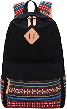 Black Canvas School Bag Backpack Girls