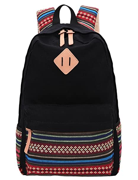 4142e2321209ed Black Canvas School Bag Backpack Girls, Hmxpls Bohemia Boho Style Unisex  Fashionable Canvas Zip Backpack