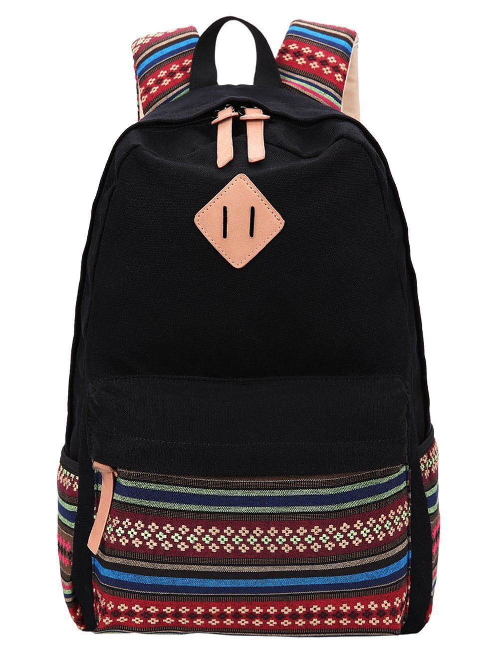 Black Canvas School Bag Backpack Girls, Hmxpls Bohemia Boho Style Unisex Fashionable Canvas Zip Backpack School College Laptop Bag for Teens Girls Students Casual Lightweight Travel Daypack Outdoor