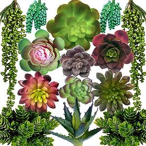 DECOROUS Artificial Succulents Plants - 14 Fake Succulents Unpotted - Indoor and Outdoor Succulants Artificial Decor - Fake Succulent for Home Office and Party Decoration Realistic Faux Succulents