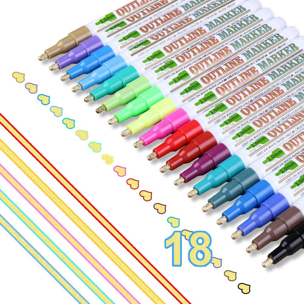 Supersun 18 Farben Magische Stifte Double Line Outline Stifte Mit 3 Verschiedene Effekt Für Papier Glas Fotoalbum Graffiti Amazon De Bürobedarf Schreibwaren