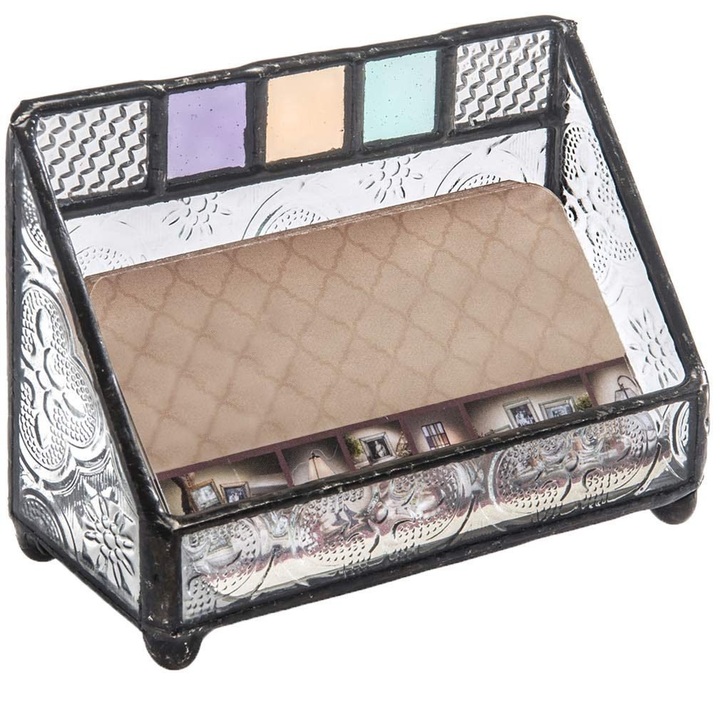 J Devlin CRD 106 Stained Glass Business Card Holder Office Decor Desk Accessory Gift for Woman