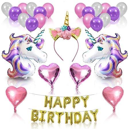 JUSTIDEA 55 Pcs Birthday Balloons Unicorn