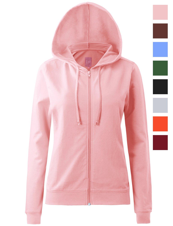 Regna X Womens Long Sleeve Pullover Hoodie Cotton Full Zip Hoodie
