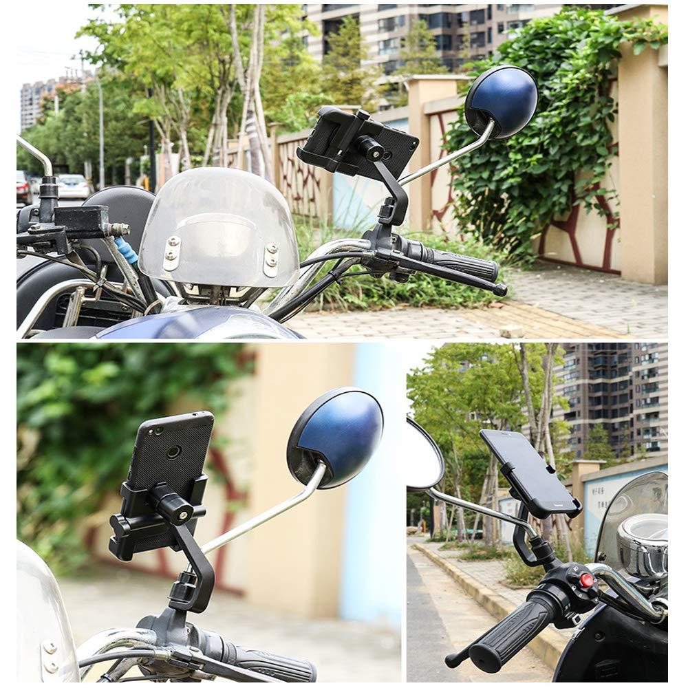 Homeet Motorrad Handyhalterung Universal Motorrad Rückspiegel Handy Halterung für 4-6,5 Zoll Smartphone und GPS Geräten mit 360° Drehbar