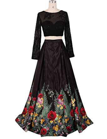 Stillluxury Floral Printed Ballgown Puffy Satin Evening Prom Dresses Long Sleeves Lace Top Sheer Black Size