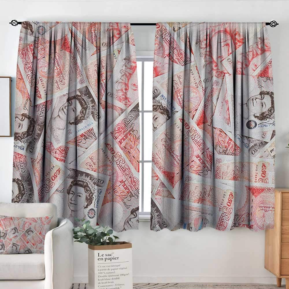 Curtains for Bedroom Money,Bullseye Notes with a Portrait of Queen of England Paper Bills of Great Britain, Scarlet Taupe,Darkening and Thermal Insulating Draperies 42''x54''