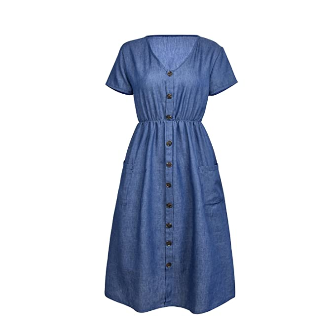 ZOOYAA Women Short Sleeve V Neck Button Down Swing Midi Denim Dress Pockets  at Amazon Women s Clothing store  ae5f09a53