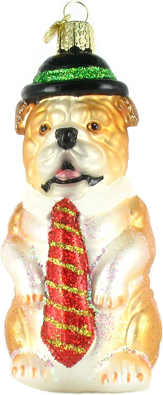 "BALL HAND MADE BULLDOG 3/"" GLASS CHRISTMAS ORNAMENT"