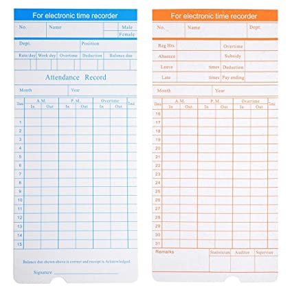 Yescom 200 Count Monthly Time Clock Cards Timecard For