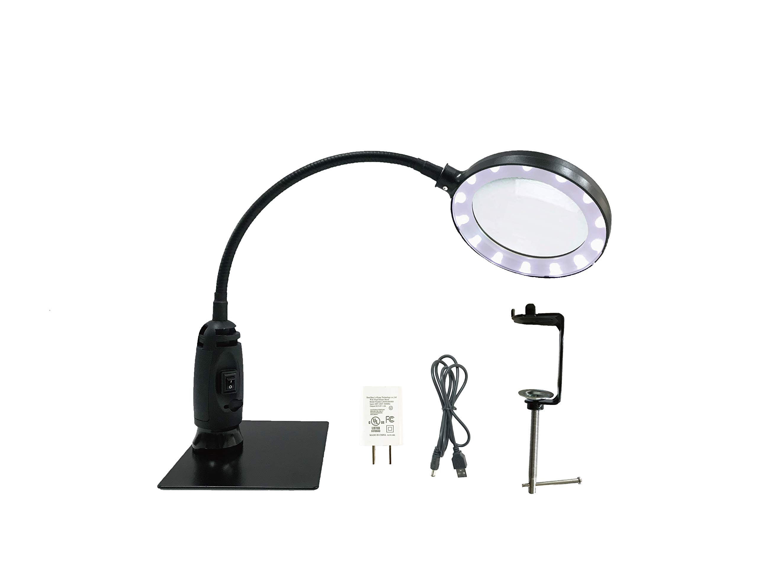 Benter Magnifying Glass Lamp, AC and USB Power, 14 LED Light, Iron Sheet and C Clamp,Clamp - for Desk, Sewing, Lighted Magnifier with Stand,