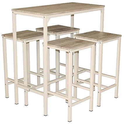 Mod. BRASIL Set Mesa y 4 taburetes muebles Design bar cocina: Amazon ...