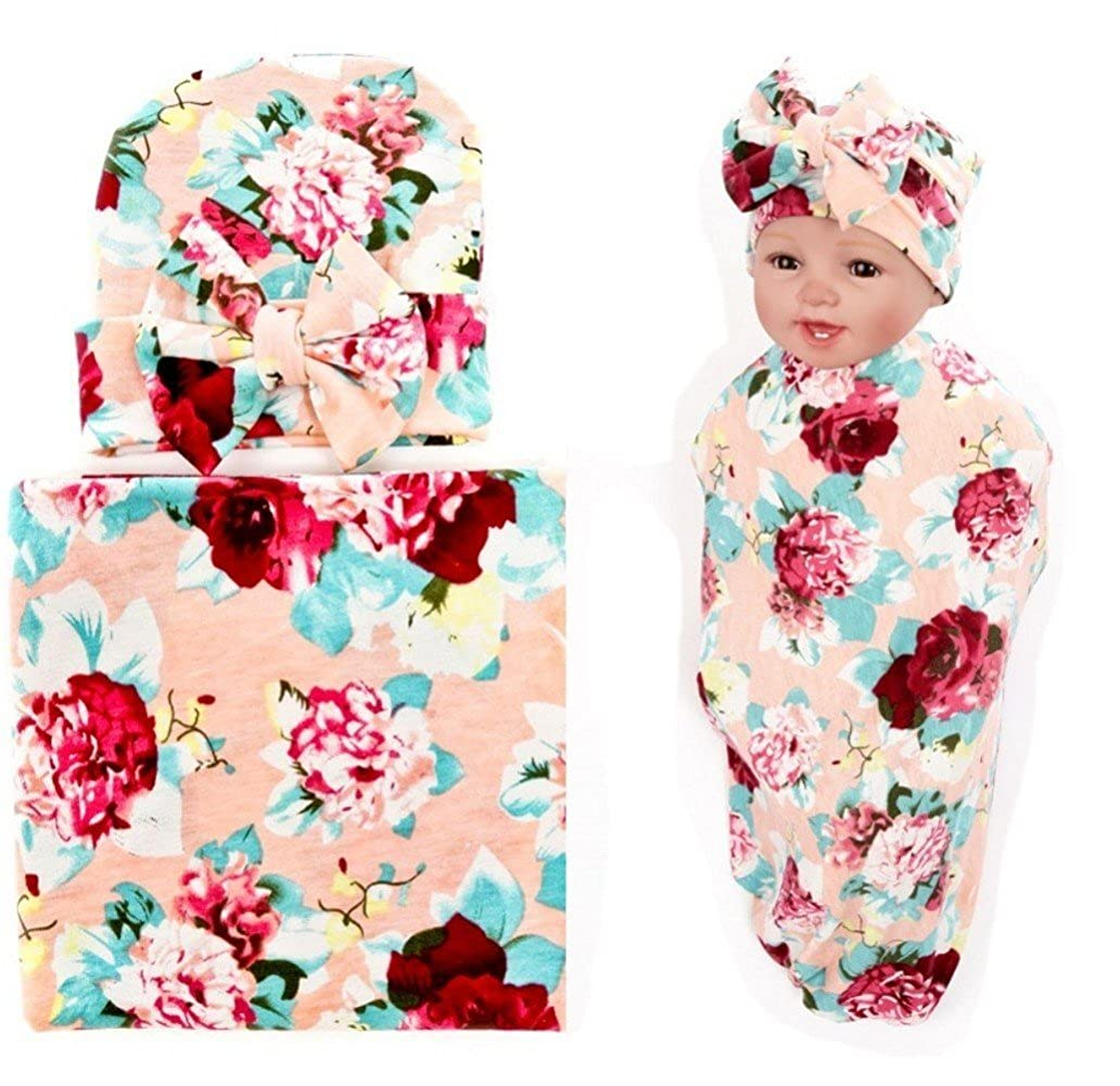 Quest Sweet Newborn Swaddle Receiving Blanket with Hats Floral Sleepsack for Toddler