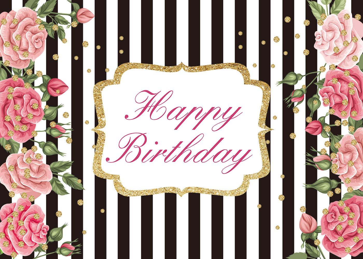 7x5ft Stripe Birthday Flowers Theme Backdrop Happy Black And White Red Watercolor Rose Gold Dot Photography Background Girls Lady Cake Table