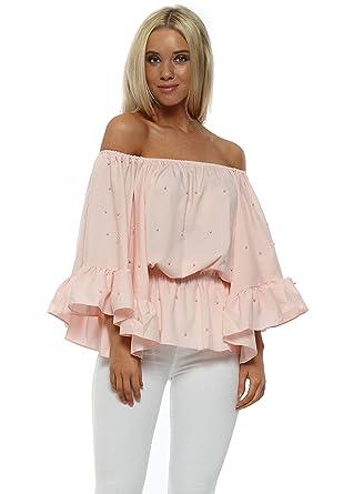 d4cf2c6ed898c1 Golden Days Pearl Embellished Bardot Flared Sleeve Top M L Baby Pink   Amazon.co.uk  Clothing