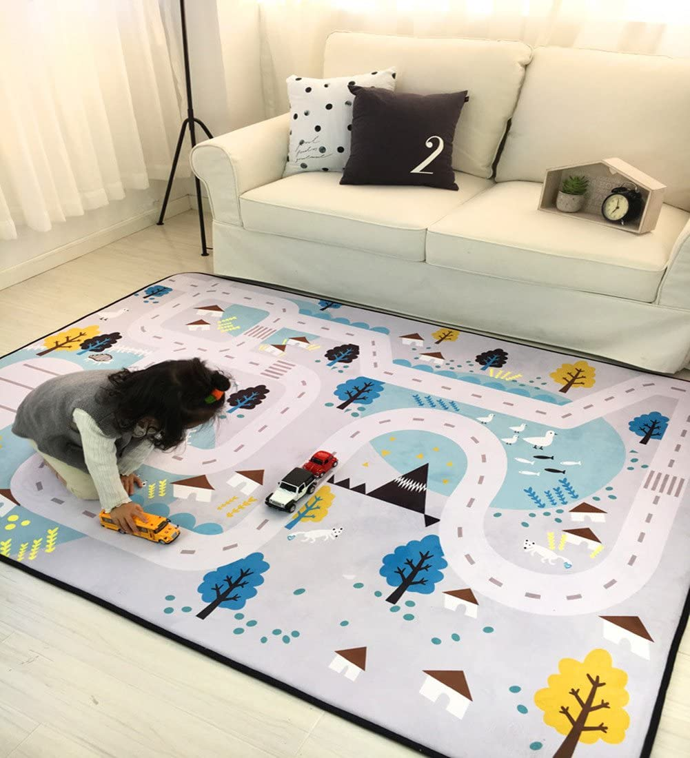 Baby Play Mat for Kids, Large Learning Carpets Kid s Baby Educational Road Traffic Area Rugs for Bedrooms, 59 x79