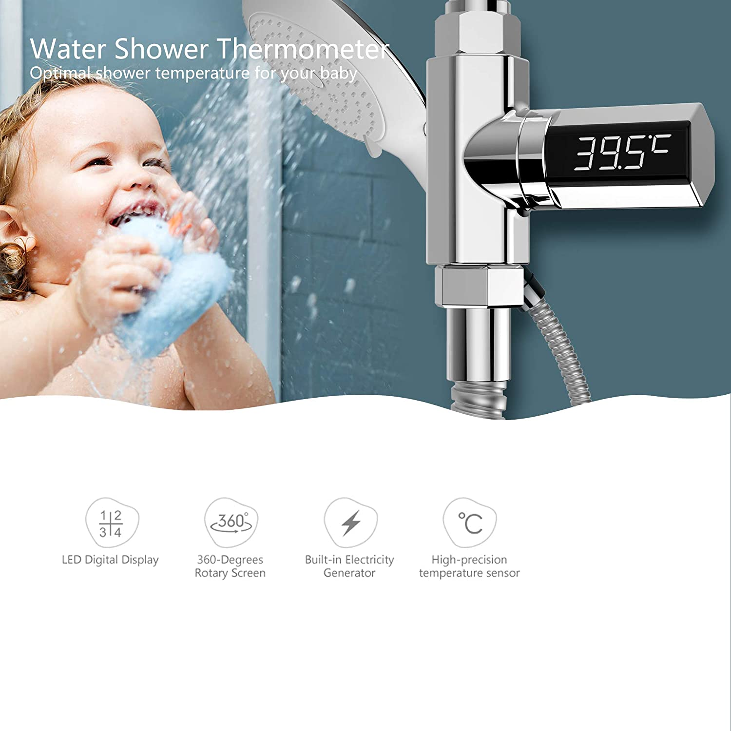 Surobayuusaku LED Display Water Shower Thermometer Self-Generating Electricity Water Temperature Monitor Energy Smart Meter