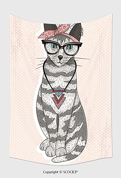 Home Decor Tapestry Wall Hanging Cute Hipster Rockabilly Cat With Head  Scarf, Glasses And Necklace_