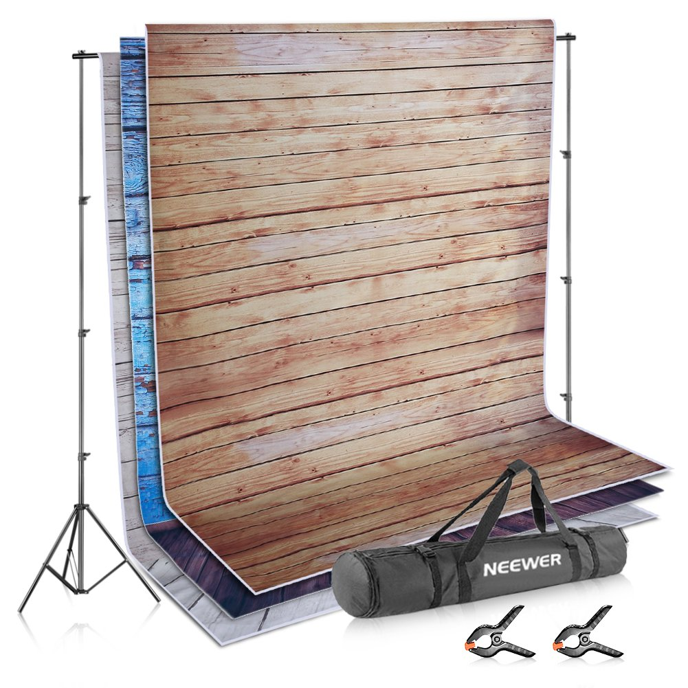 Neewer Photo Video Studio Backdrop and Support Kit: 3-Pack 5x7feet/1.5x2meters Wooden Polyester Backdrop,8.5x10feet/2.6x3meters Adjustable Support System with 2-Piece Background Clamps and Carry Bag