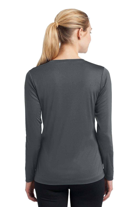 Sport-Tek Ladies Long Sleeve V-Neck PosiCharge Competitor Tee Iron Grey