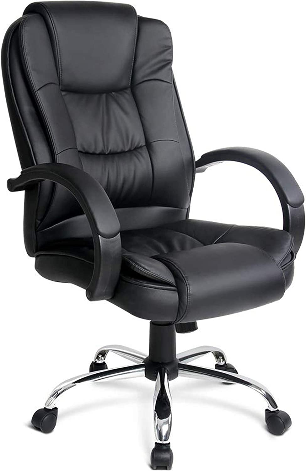 Halter Executive High Back Reclining PU Leather Office Chair; Integrated Headrest Thick Padded Seat Cushion Nylon Padded Armrest; Smooth-Glide Caster Wheels Durable Chrome Base; Black