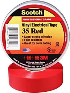 Scotch Vinyl Color Coding Electrical Tape 35, 3/4 in x 66 ft, Red