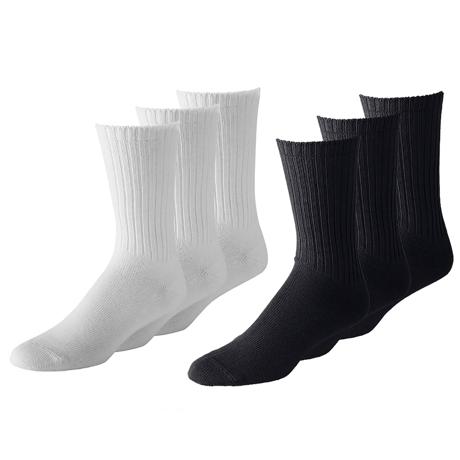 Pricemenow 50 Pairs Men or Women Classic and Athletic Crew Socks - Bulk Wholesale Packs - Any Shoe Size (10-13, Black and White) by Pricemenow