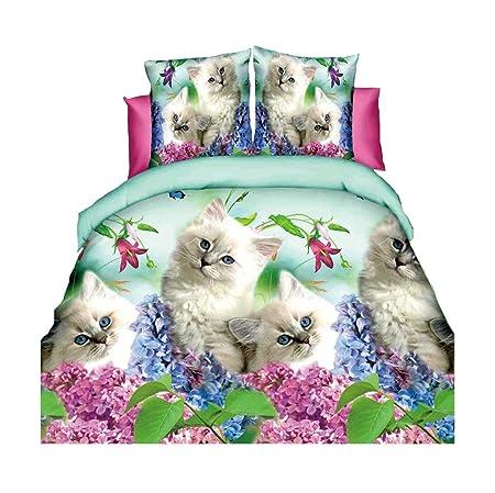 Lenzuola Matrimoniali Animali.Hohai 3d Animali Gatti Bianco Set Copripiumino Consolatore Shell