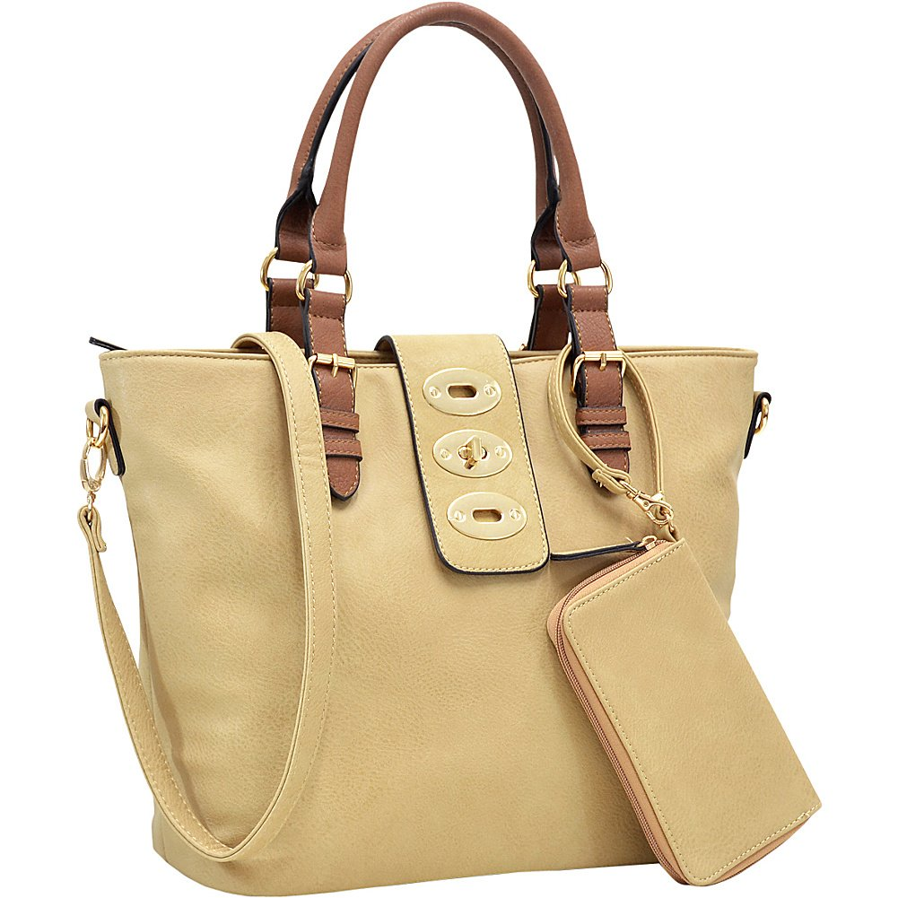 f4bc1f73031 Amazon.com: Dasein Work Tote with Adjustable Twist Lock and Matching  Wristlet (Beige): Shoes