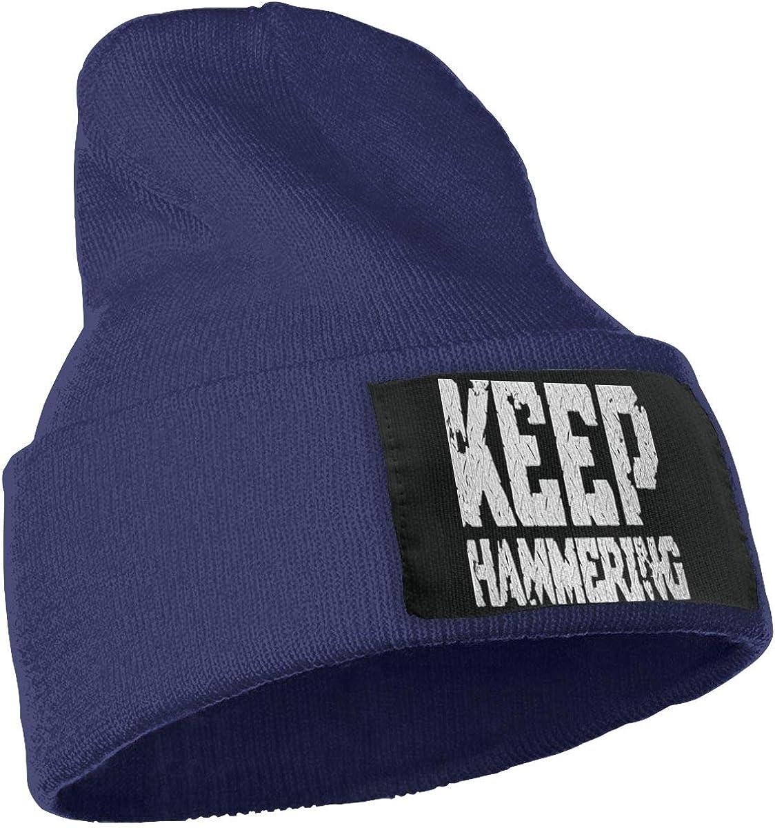 SLADDD1 Keep Hammering Warm Winter Hat Knit Beanie Skull Cap Cuff Beanie Hat Winter Hats for Men /& Women