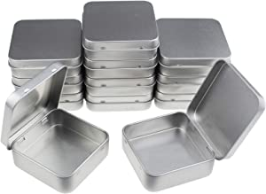 Goodma 12 Pieces Square Metal Empty Tins Home Storage Containers Organizer Mini Box with Hinged Lid, 2.76 x 2.76 x 0.79 inch (Silver)
