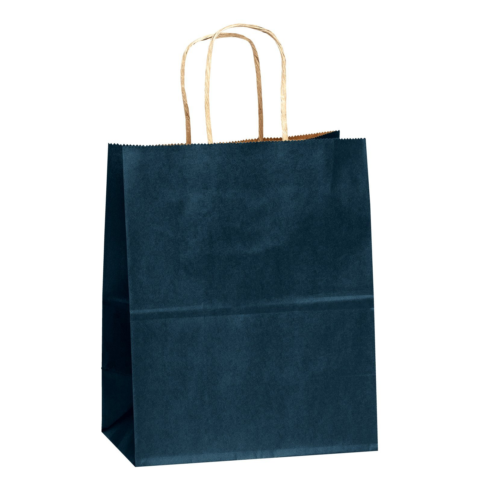 Flexicore Packaging 8''x4.75''x10.25'' Navy Blue Kraft Paper Bags - 100ct, FSC Certified Materials, Shopping, Merchandise, Party, Gift Bags