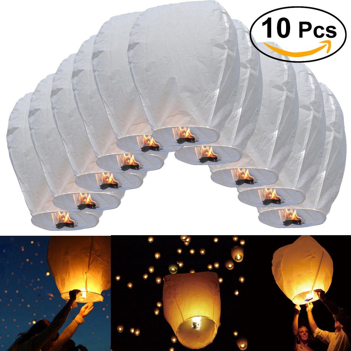 LEORX Sky Lantern 10Pcs Oval Sky Lantern Chinese Kongming Lantern Wish Lamp Wedding Party Christmas Decoration