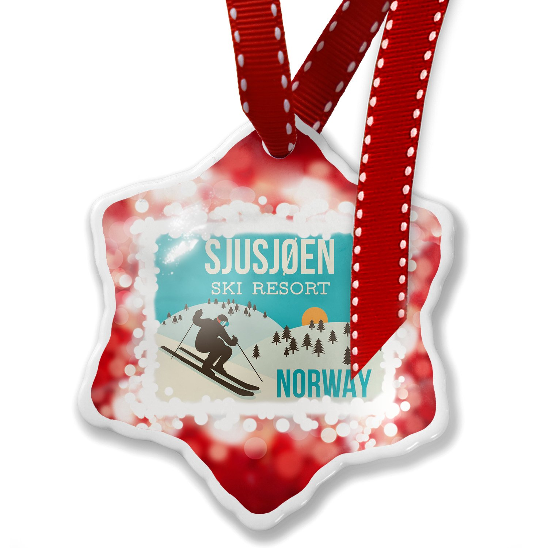 Amazon.com: Christmas Ornament Sjusj?en Ski Resort - Norway Ski ...