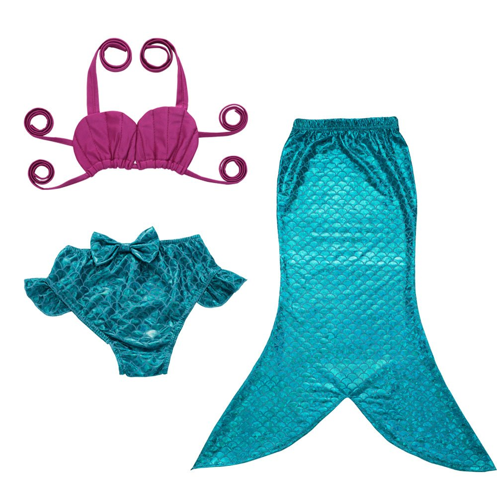21023bb47ee JFEELE 3pcs Toddler Mermaid Swimsuit for Baby Girls Mermaid Tail Bathing  Suit Bikini Swimming Set - 2-8T