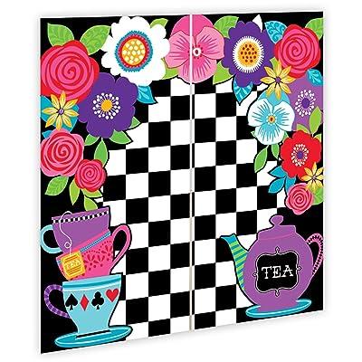5ft Mad Hatter Tea Party Wall Decoration Kit Surprise Selfie Backdrop Party Kit Set Decoration Pack: Toys & Games