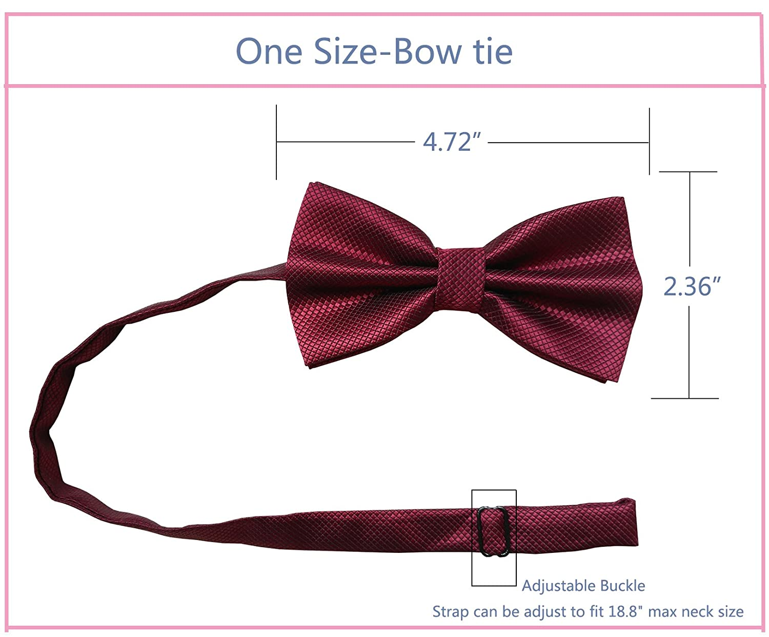 Simpowe Men's Formal Tuxedo Banded Pre-Tied Bow Tie and Pocket Square Set (One Size, Wine)