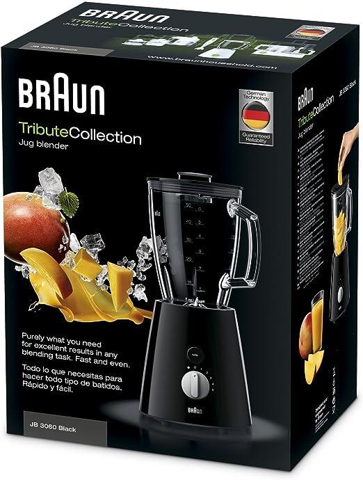Braun JB3060BK - Batidora de vaso, 800 w, 5 velocidades, cuchilla de acero inoxidable, jarra de 1.75 l thermoresist, negro: Braun: Amazon.es: Hogar