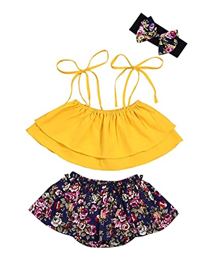 8b6891322c923 3PCS Set Infant Baby Girls Clothes Summer Outfits Tie-up Crop Top and  Floral Shorts