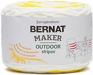 BERNAT Maker Outdoor Stripes -250g- Fresh Yellow Stripe