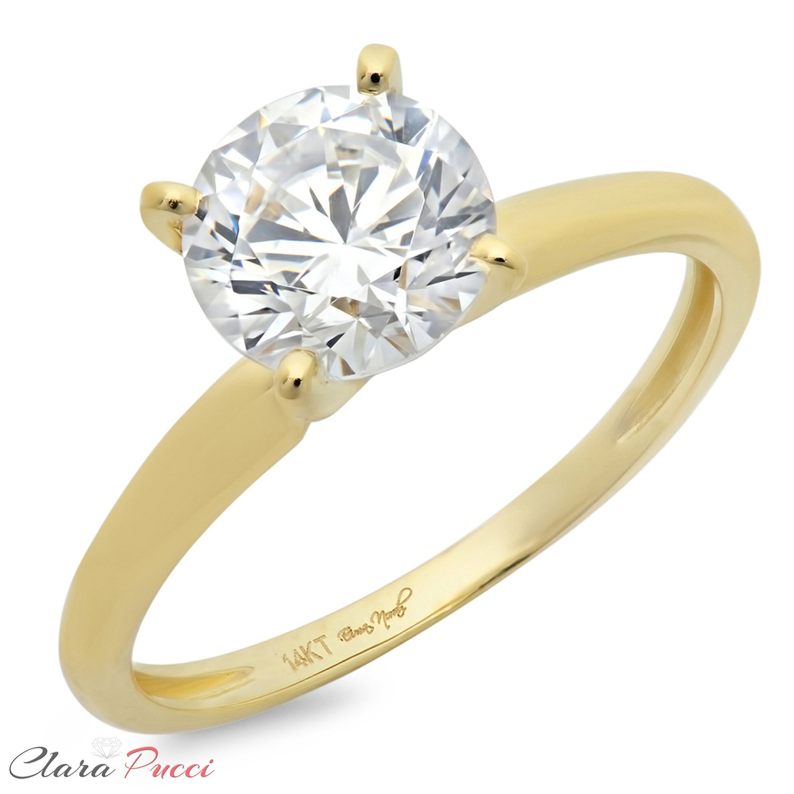 Clara Pucci 2.0 CT Brilliant Round Cut Simulated Diamond CZ Designer 4-Prong Solitaire Anniversary Promise Bridal Wedding Ring Solid 14k Yellow Gold by Clara Pucci (Image #2)