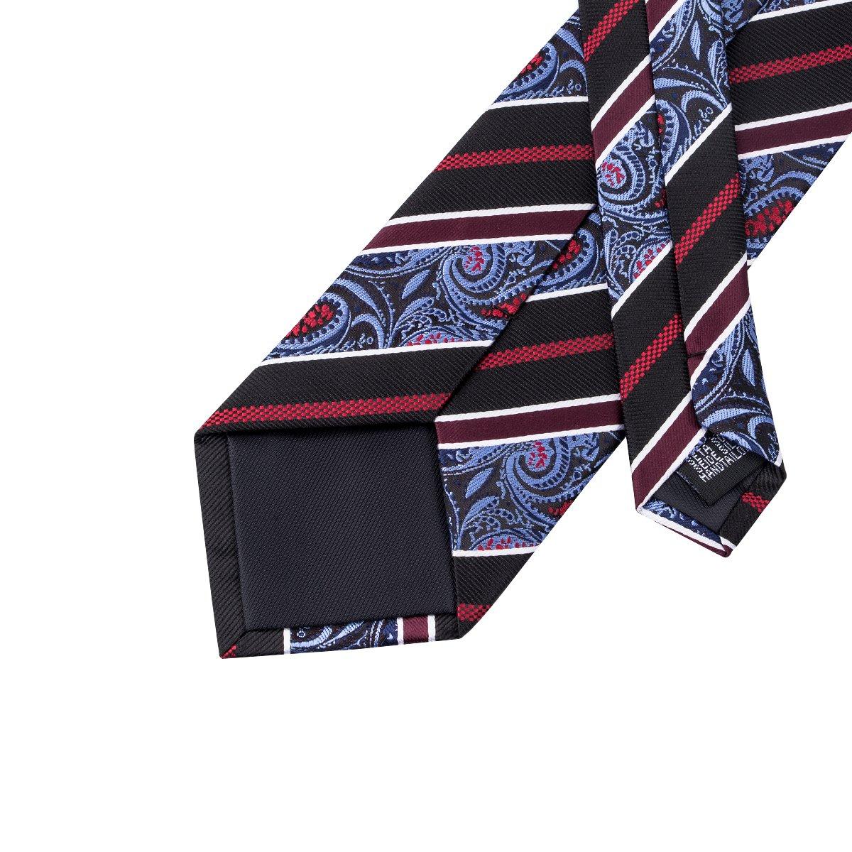 DiBanGu Paisley Tie and Pocket Square for Men Silk Necktie Handkerchief Cufflink Set Formal