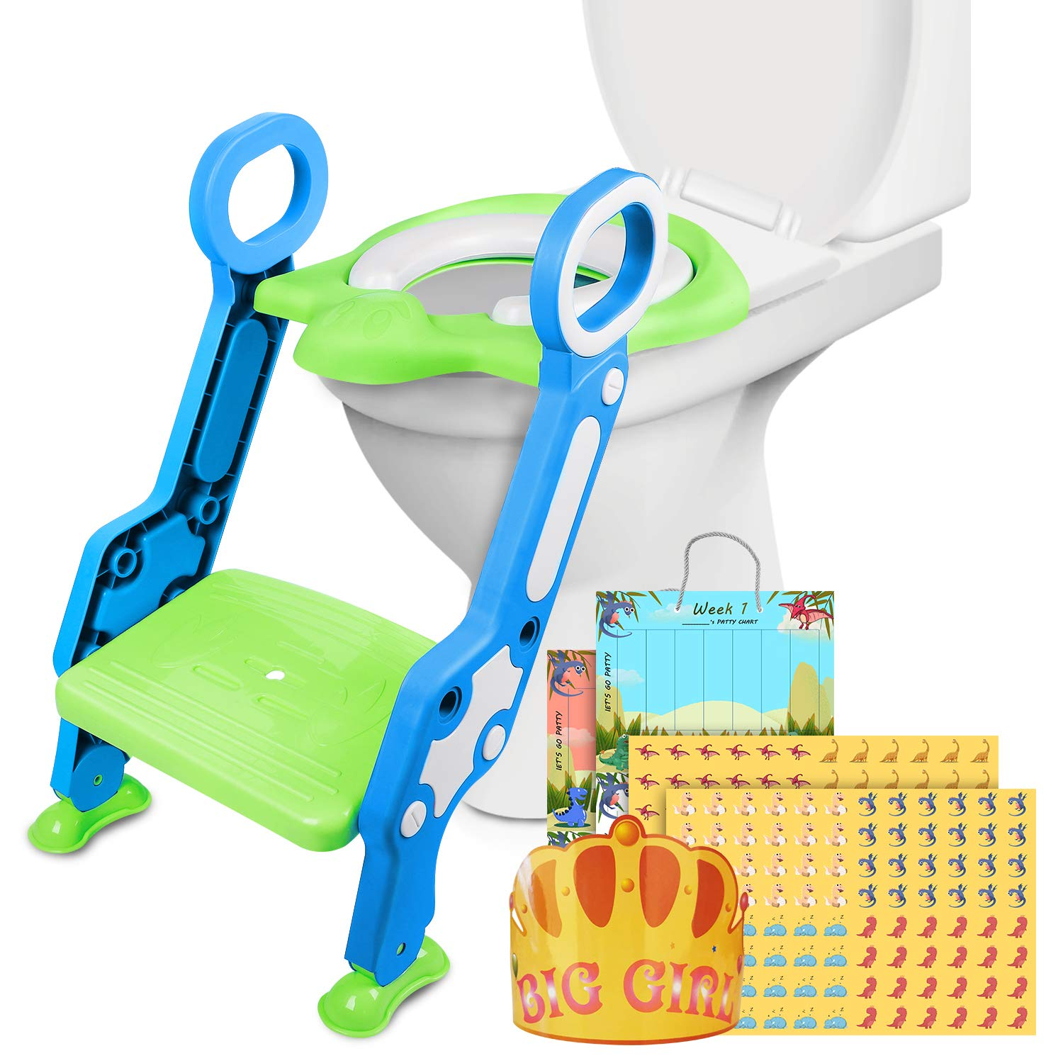 Non-Slip Adjustable Child Toilet Seat with Step Ladder, Potty Training Champion Card, Suitable for Boys and Girls (Green) by PITAYA