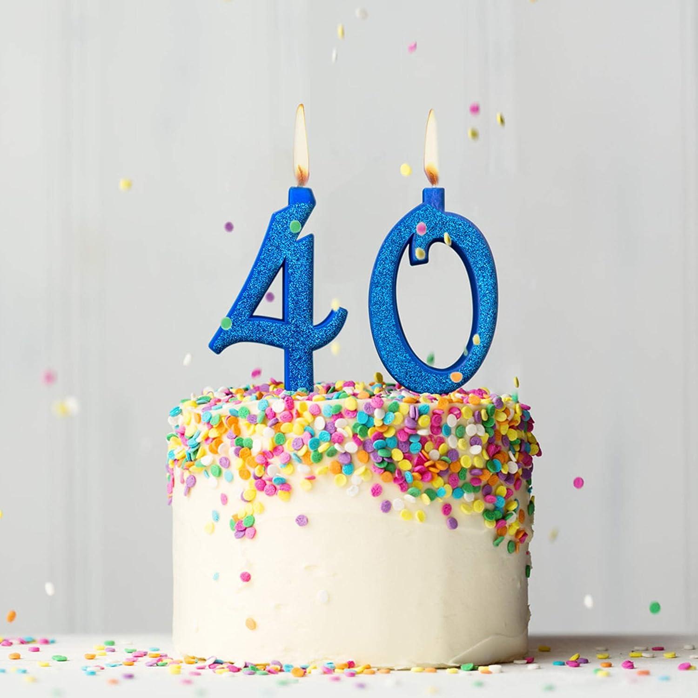 Party & Co. Velas para Tarta de cumpleaños 40 años Ideal Tanto para Hombre como para Mujer - 12 cm Azul Glitter