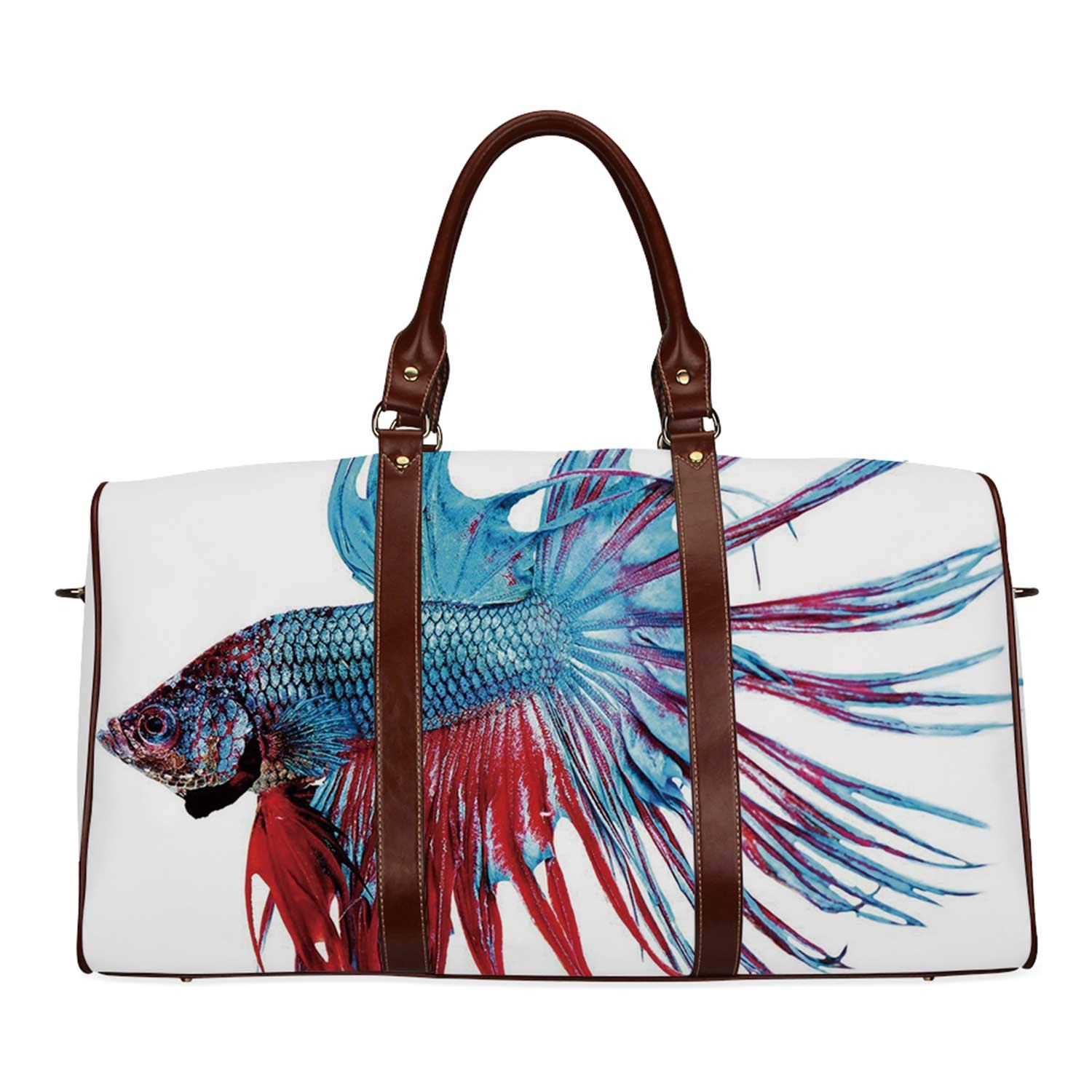Aquarium Waterproof Travel Bag,Fantastic Betta Fish Close Up Dragon Fish with Fringy Tail Tropic Aquatic Life Decorative for Travel,18.62''L x 8.5''W x 9.65''H by YOLIYANA