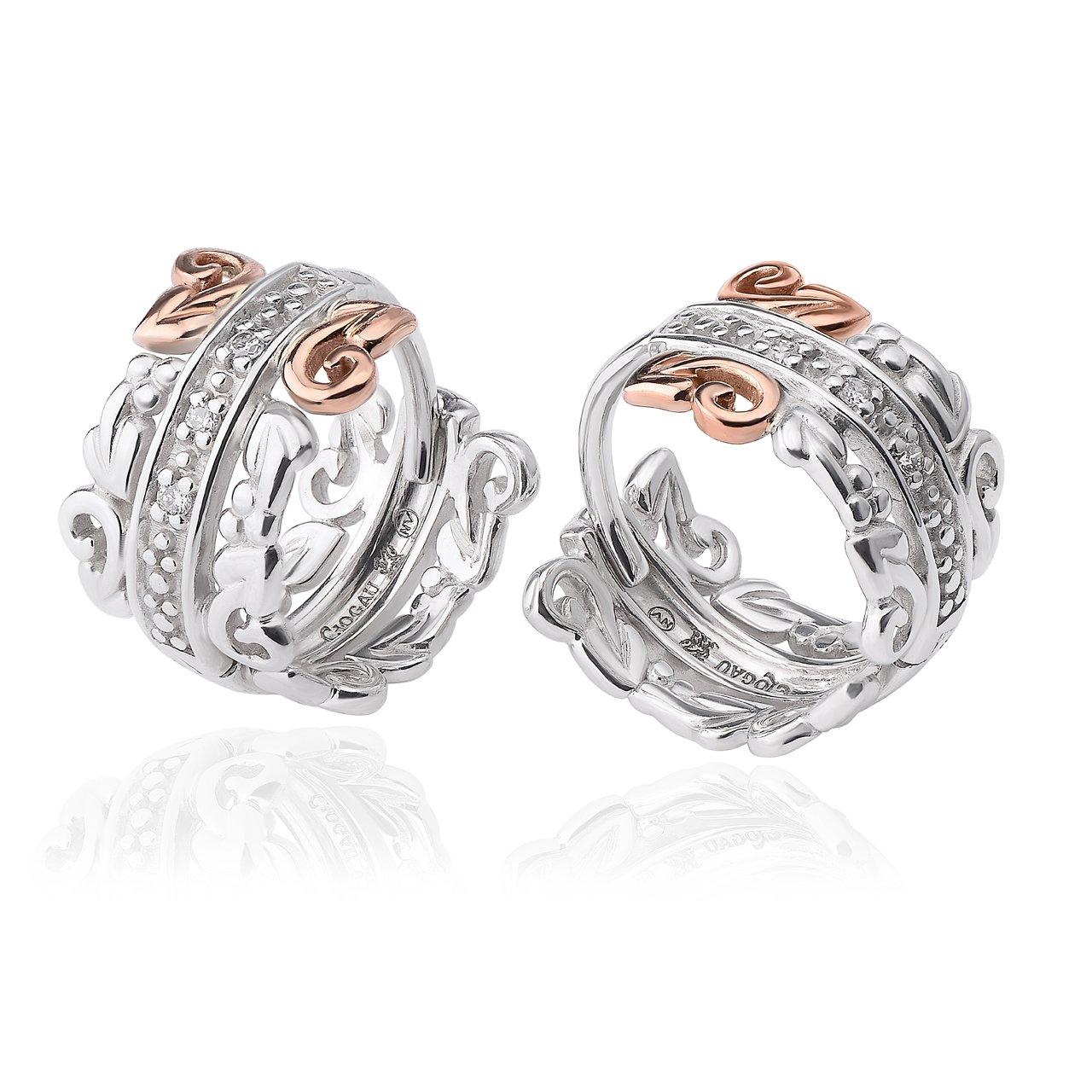 Clogau Fine Silver 9ct Welsh Gold Am Byth Drop Stud Earrings