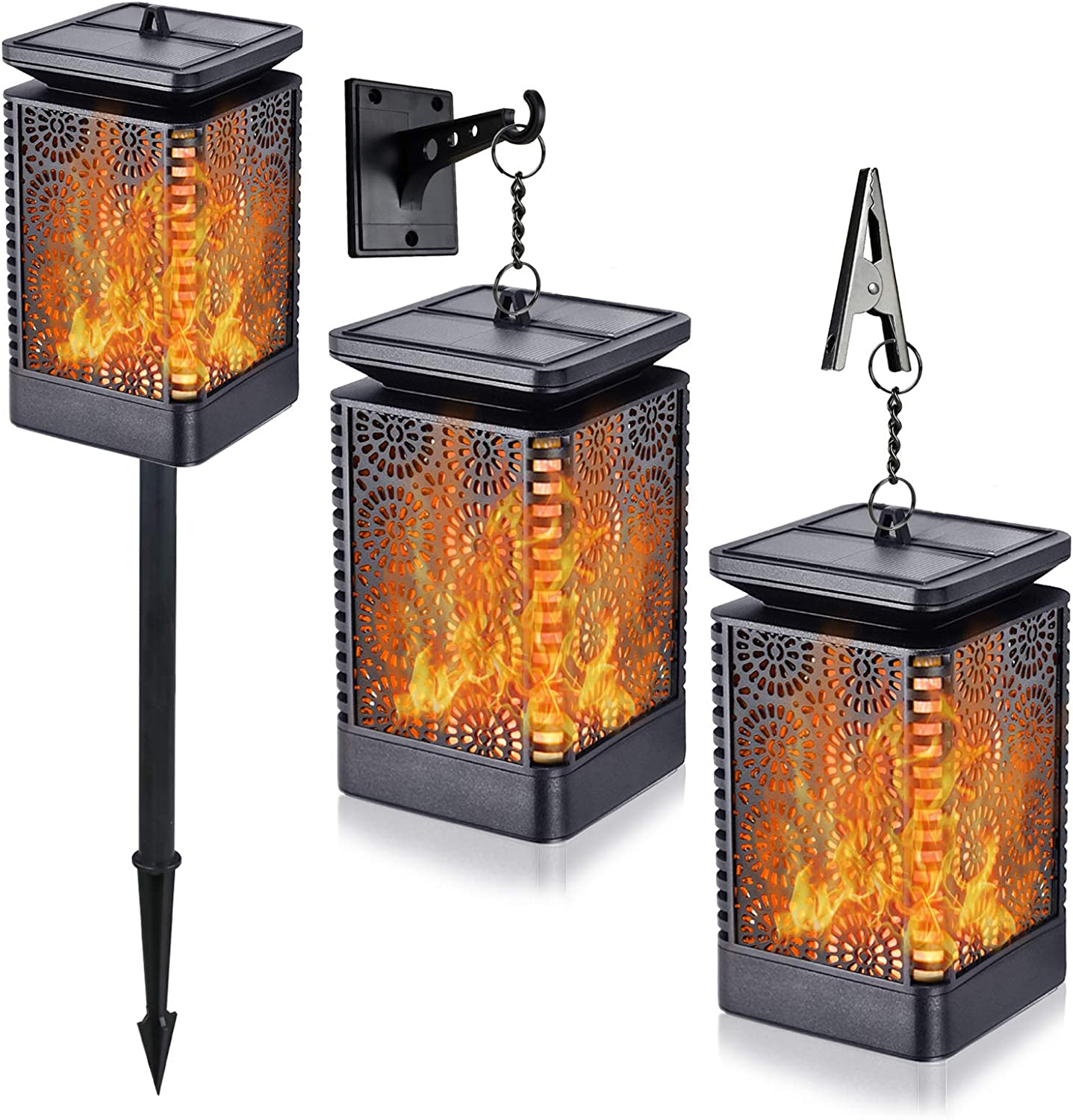 Upgraded Solar Lights Outdoor Decorative with Ground Stakes, 2 Pack Waterproof Solar Powered Lanterns Decor with Realistic Beating Flame Flickering Effect for Patio Garden Camping Porch Backyard