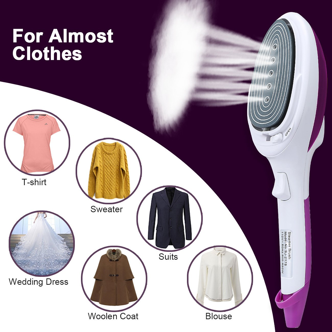 Baabyoo [Newest Version] Portable Garment Steamer Trouser Pressers Travel Handheld Clothing Steamer Powerful Fabric Steamer Fast Heat-up Ironing 180ml for All Materials for Home and Travel Purple by Baabyoo (Image #2)