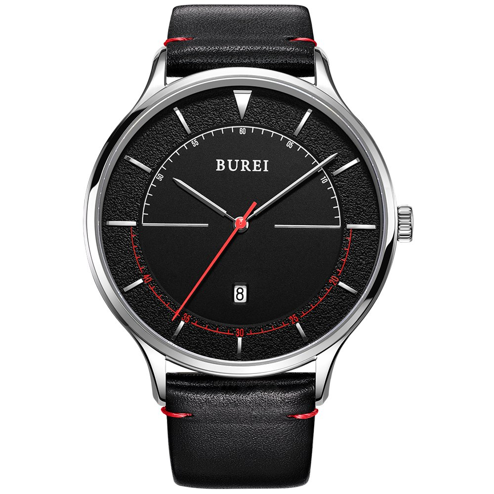 BUREI Unisex Thin Minimalist Wrist Watches with Large White Face Calendar Mineral Glass Leather Band (All Black)